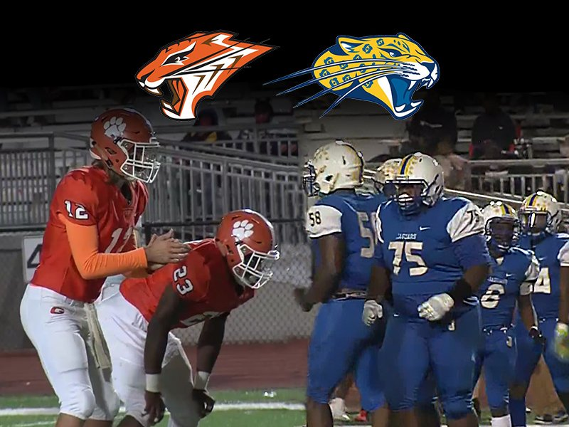 Jemison and Grissom football players with logos for each school at the top